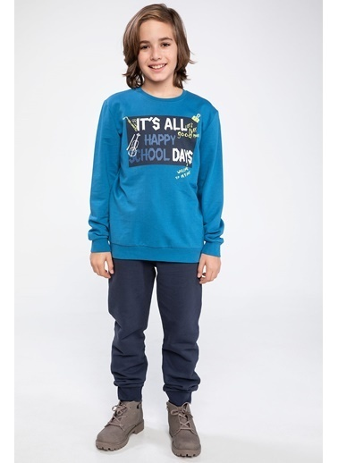 DeFacto Slogan Baskılı Sweatshirt Mavi